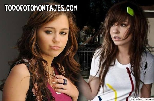 ... fotomontaje con Miley Cyrus , para que puedan poner una foto de