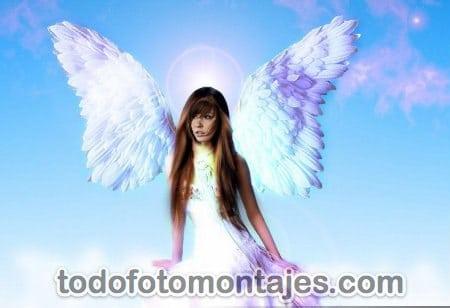 ... donde pueden convertirse en ángeles con este fotomontaje de ángel
