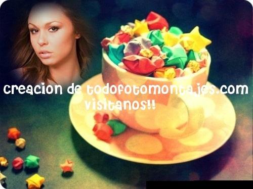 Fotomontaje de taza con copitos multicolores