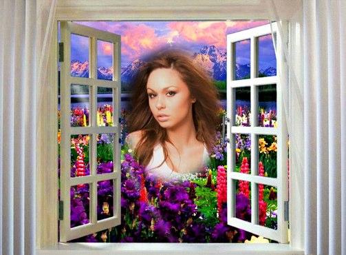 Fotomontaje de ventana con flores