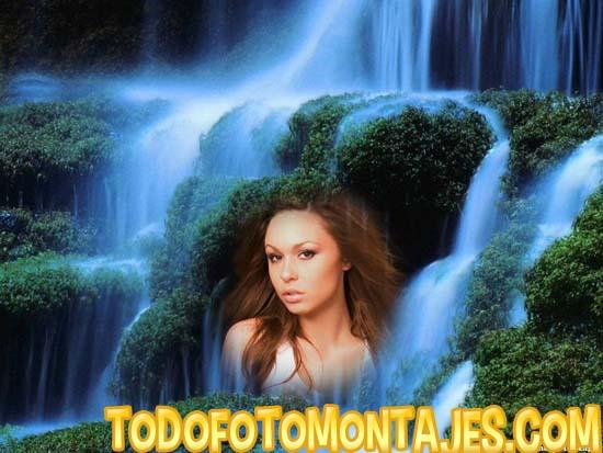 Este fotomontaje de paisaje de cascada lo puedes personalizar con la ...